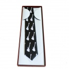 DEDO MG-361 Boutique Gentleman Guitar Design Tie for Men - White + Black