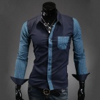AOWO Stylish Men's Business Plaid Long-sleeved Shirt - Navy Blue (Size-L)