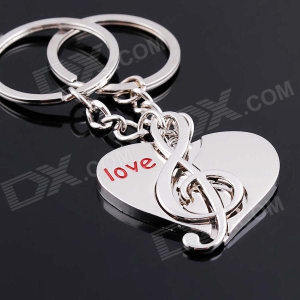 DEDO MG-67 Lover Heart+ Music Notes Zinc Alloy Keychain - Silver (2 PCS) cute cartoon cat lovers style zinc alloy keychain silver 2 pcs