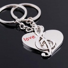 DEDO MG-67 Lover  Heart+ Music Notes Zinc Alloy Keychain - Silver (2 PCS)