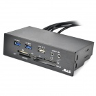 USB 3.0 2-Port Front Panel MS / MMC / CF / XD / TF Card Reader - Black + Green