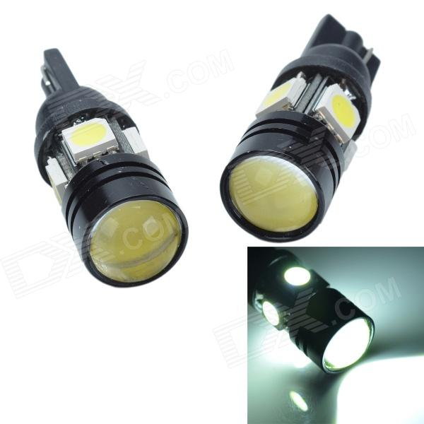 T10-5050-4SMD-1W 2.2W 12V 135LM 5-LED White Light Reading Lamp - Black (12V) 10pcs t10 bright car led w5w 5050 5 smd white blue red interior lights wedge reading lamp trunk bulbs license plate light dc 12v