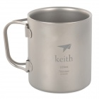 Keith KS813 Double Wall Titanium Water Cup / Mug - Silver Grey (220ml)