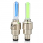 Plastic + Aluminum Alloy Cycling Bike Tyre Wheel Valve 1-LED Fireflys - Green + Blue (2 PCS)