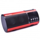 "SANSUI D10 1.0"" LED 2-CH Bass Media Player Speaker w/ FM / Music / TF - Red + Black"
