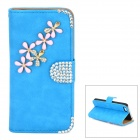 PUDINI WB-ZHI5S Flower Pattern Protective PU + Rhinestones Case w/ Stand for Iphone 5 / 5s - Blue