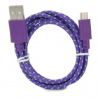 Micro USB Male to USB Male Nylon Data Charging Cable for Samsung Tablet PC - Purple + Green (100 cm)