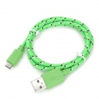 Micro USB macho a USB macho de nylon Cable de datos de carga para Samsung Tablet PC - verde + blanco (100 cm)