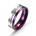 EQute RSSC9MS10 316L Stainless Steel Zircon Finger Ring for Man - Purple + Silver (Size 10)