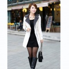 OZL 1012 Fashionable Women's Collar Slim Long Coat with Belt - White (Size-L)