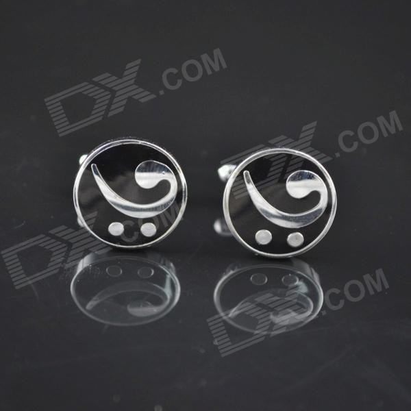 DEDO MG-112 Round Shirt Cufflink Music Notes Cufflinks - Silver White + Black (2 PCS)