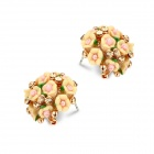 EQute EOTW1C7 Beautiful White Rhinestones Flower-shaped Ear Studs - Yellow (Pair)
