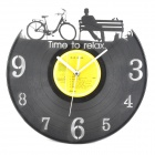 Gramophone Record Style Vinyl Decorative Wall Clock - Black (1 x AA)