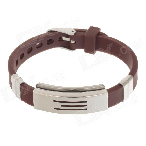 Decompression Anion Silicone Non-Allergy Bracelet - Silver + Brown common mental disorders in long term sickness absence