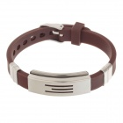 Decompression Anion Silicone Non-Allergy Bracelet - Silver + Brown