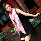 ZHIBUREN T139005 Summer Long Large Lady Sun Scarf Floral Scarf Girl - Translucent White + Pink