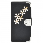PUDINI WB-ZHI5S Flower Pattern Protective PU + Rhinestones Case w/ Stand for Iphone 5 / 5s - Black