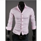 Stylish Men's Slim Fit Shirt - Pink (Size L)