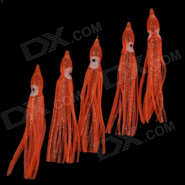 4 Rubber Fishing Hook Baits for Squid / Octopus - Orange + White (5 PCS)