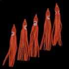 "4"" Rubber Fishing Hook Baits for Squid / Octopus - Orange + White (5 PCS)"