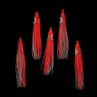 "2.5"" Rubber Squid / Octopus Fishing Bait Hook - Red + White (5 PCS)"
