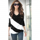 Fashion All-Match Long Sleeve Cotton T Shirt - Black + White (Size M)