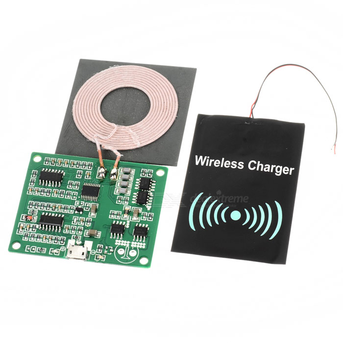 universal diy qi wireless charger transmitter receiver modules kit black free shipping. Black Bedroom Furniture Sets. Home Design Ideas