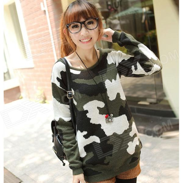 Fashion Thicken Wool Camouflage Sweater for Women - Army Green