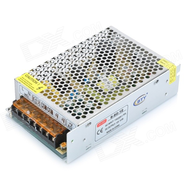 Y-12-6.5 78W 12V 6.5A LED Switching Power Supply Adapter - Silver