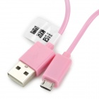 RIchino RS-M01 Micro USB Male to USB Male Charging Cable w/ Waterproof Case - Pink (100 cm)