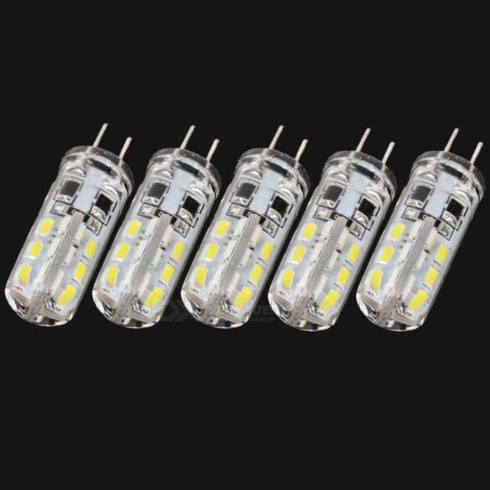 JRLED G4 2W 100lm 6500K 24-3014 SMD LED Cool White Light Car Bulbs (5 PCS / DC 12V)