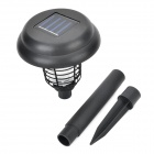Waterproof Solar Powered Dual LED White + Purple Light Mosquito Repellent Lamp - Black