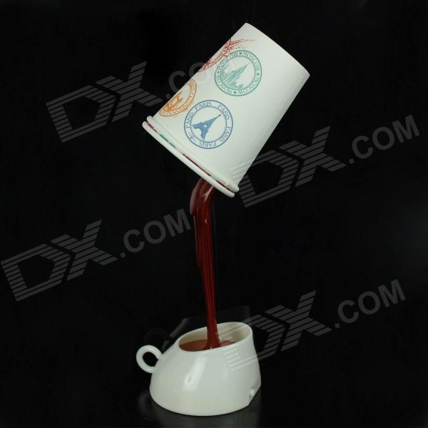 Fashionable Creative USB 1.6W 8-LED 100lm 2000K Coffee Lamp - White (3 x AAA)