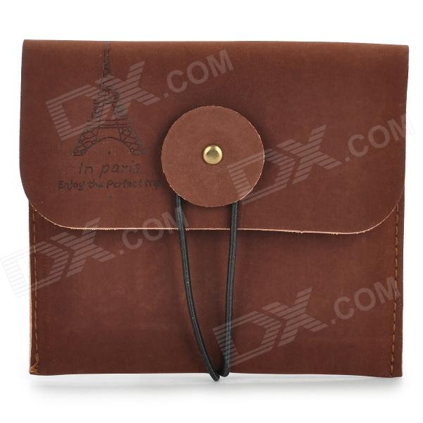 Retro Style Matte PU Leather Change Coin Wallet Purse - Brownish Red