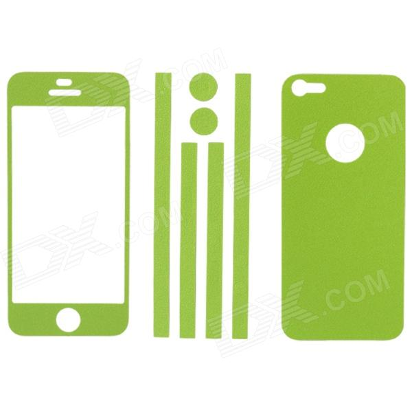 Elonbo Stylish Decorative Full Front Screen Protector + Back Skin Sticker Set for Iphone 5 - Green