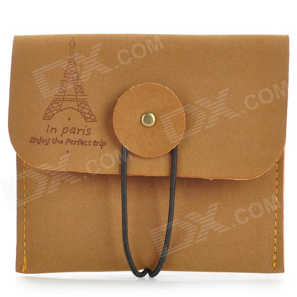 Retro Style Matte PU Leather Change Coin Wallet Purse - Brown