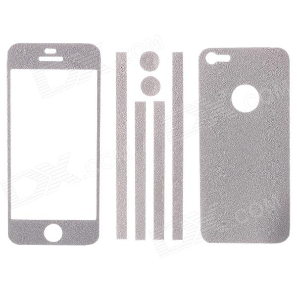 Elonbo Stylish Decorative Full Front Screen Protector + Back Skin Sticker Set for Iphone 5 - Silver