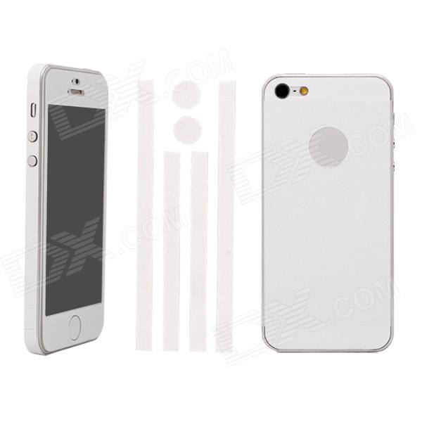 Elonbo Stylish Decorative Full Front Screen Protector + Back Skin Sticker Set for iPhone 5 - White