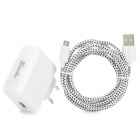 USB Male to Micro USB Male Data Cable w/ EU Plug Charger for Google Nexus 7 II - White (200cm)