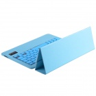 V3.0 Bluetooth ultrafino de 79-key Keyboard w / un rebaño patrón pu estuche de cuero para Ipad AIR - Blue Sky