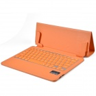 V3.0 Bluetooth ultrafino de 79-key Keyboard w / un rebaño patrón pu estuche de cuero para Ipad AIR - Orange