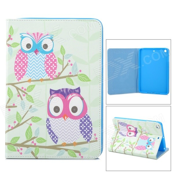 Stylish Owl Pattern PU Leather Case Cover Stand for Ipad MINI - Green + Pink + Blue + Purple + White g case slim premium чехол для apple ipad mini 4 white