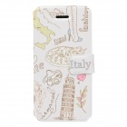 Fashionable Italy Style Protective PU Leather Case Cover for Iphone 5 / 5s - White