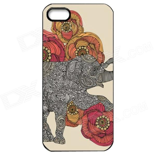 Elonbo J1A6 Cute Elephant Paint Protective PC Hard Back Case for Iphone 5 / 5s - Multicolored kavaro swarovski rose gold plated pc hard case for iphone 6s 6 mandala pattern