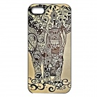Elonbo J1A1 Cute Elephant Paint Protective PC Hard Back Case for Iphone 5 / 5s - Black + Khaki