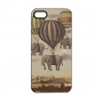 Elonbo J1A8 Cute Elephant Paint Protective PC Hard Back Case for Iphone 5 / 5s - Light Grey + White