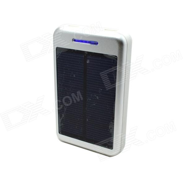 Solar Powered 13800mAh External Battery Charger Power Source Bank - Silver + White 100w folding solar panel solar battery charger for car boat caravan golf cart