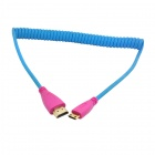 CY HD-109-BL 1080p Mini HDMI V1.4 to HDMI Male Spring Video Audio Cable for HDTV / DVD / PC - Blue