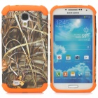 Grass Pattern 2-in-1 Plastic + TPU Back Case for Samsung S4 i9500 - Orange + Grey