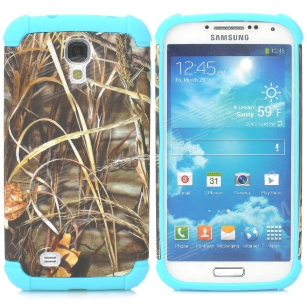 2-in1 Protective Plastic + TPU Back Case for Samsung S4 i9500 - Sky Blue + Grey